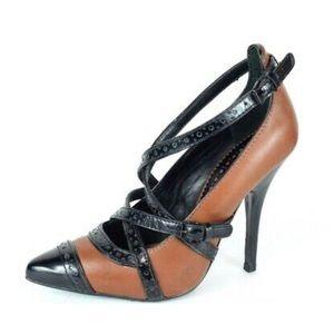 NWOT Tory Burch Judith Honey Brown/Black 9.5 Heels
